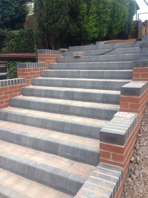 Block paved steps